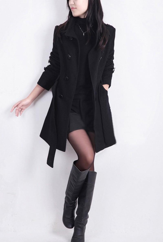 2016 New Women Trench Woolen Coat Winter Slim Double Breasted Overcoat (3)