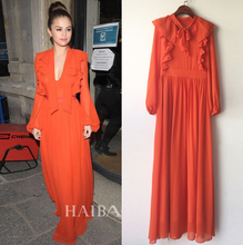 United States  new sexy V collar lace up the sleeves of the orange color temperament elegant big swing Beach Dress