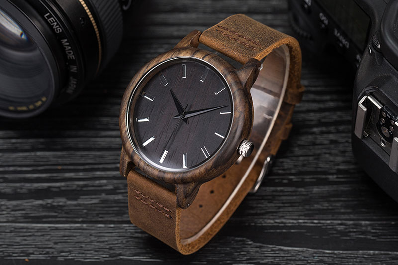 17Men's Clock Black Vintage Saat Wooden Watches With Real Leather Band Design Man Top Brand Quartz Watches Round With Gift Box 8