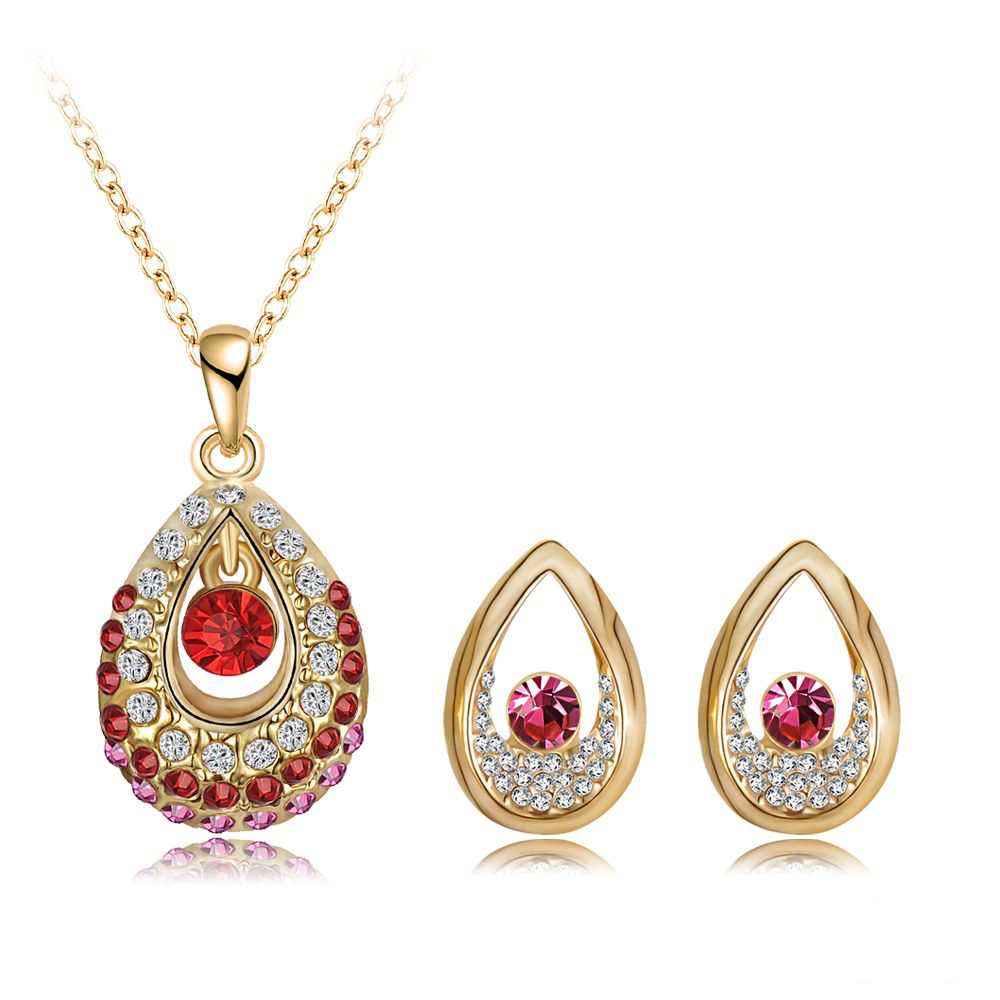 2017 New Arrival Women Jewelry Set Gold Color With Austrian Crystal Pendant Earrings Set Fashion Jewelry