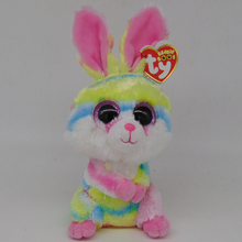 "Pyoopeo Original Ty Beanie Boos 6"" 15cm Lollipop Multicolor Bunny Plush Stuffed Rabbit Regular Collectible Big Eyes Doll Toy"