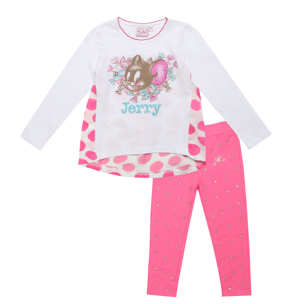 2016  fashion Monnalisa Children outfits clothing outfits sets kids cotton girl cute Cartoon jerry long sleeve shirts pant suits<br><br>Aliexpress