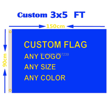 Custom Flag Any Size Brand Company Logo Sport Outdoor banner 3X5FT Banner 150X90cm Customize Flags brass grommets,free shipping(China)
