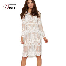 A289 Unique Design Loose Beach Dress Summer 2017 New Arrival White Lace Dress Floral Embroidery Long Sleeve Knee Length Swimsuit