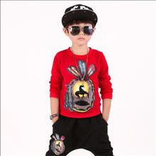 Fashion Boys Spring Autumn Children's Clothing Sets Print Pullover Top And Pant 2 Piece Sets Kids Personality Casual Sport Suits