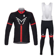 FELT Spring/Autumn Men`s Long Sleeve Team Cycling Bib Set Bike Pro Bike Clothes Ropa Maillot Ciclismo with 9D Gel Pad