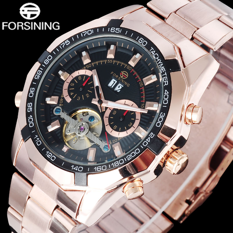 watches men luxury brand FORSINING rose gold black stainless steel business watch automatic Mechanical tourbillion wristwatches<br>