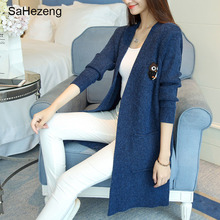 SaHezeng Elegant Ladies Long Sweaters Cardigans 2017 Autumn Appliques Casual Loose Women Outerwear Open Stitch Flat Knitted KC16