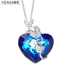 Veamor Butterfly Heart of Ocean Pendant Necklaces Blue Crystal Necklace For Women Girls Fashion Jewelry Crystals From Swarovski(China)