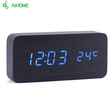Led Wooden Clock  New Designer Thermometer LED Digital Clock Desktop Table Clock Sound Control  Alarm Clocks 4 Color Word Shows