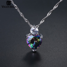 VALEN BELA 6 Colors Charms Zircon Heart love Women Pendant for jewelry making pendulum Necklace Accessories XL1502