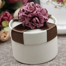 Bridal Wedding Party Favor Gift Candy Boxes 100 Brown Ribbon Flower Decor Marriage Party Decorations Free Shipping