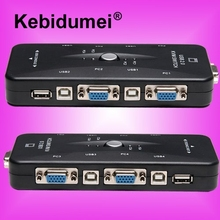 kebidumei Portable USB KVM 4 Ports Selector VGA Print Auto Switch Moniter Box VGA Splitter V322 USB 2.0 KVM Switch(China)