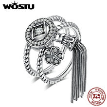 WOSTU Hot Sale 100% 925 Sterling Silver Vintage Fluttering of Tassel Rings For Women Brand Original Fine S925 Jewelry CQR088(China)