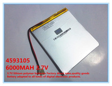 3.7V,6000mAH,4593105 Oriinal L battery polymer lithium ion battery;SmartQ T20, VI40,AMPE A86 Dual Core P85 Tablet PC(China)