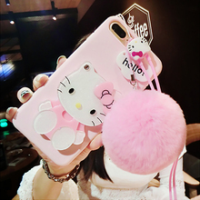 For iPhone 7 plus /X 8 6 6splus case pink Hello kitty For samsung galaxy s8 plus s6 s7 edge case cartoon cat mirror cover +rope(China)