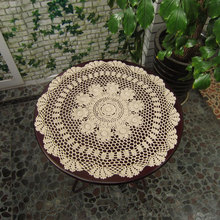 Hand Crochet Tablecloth Round Tablecloth Coffee Tea Table Cloth White/Beige Handmade Tablecloths for Wedding 60cm Free Shipping