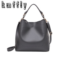 KMFFLY 2017 Big Bucket Women Shoulder Bags High Quality Black Super Fiber Pu Leather handbag Casual Tote Luxury Shopping bag(China)