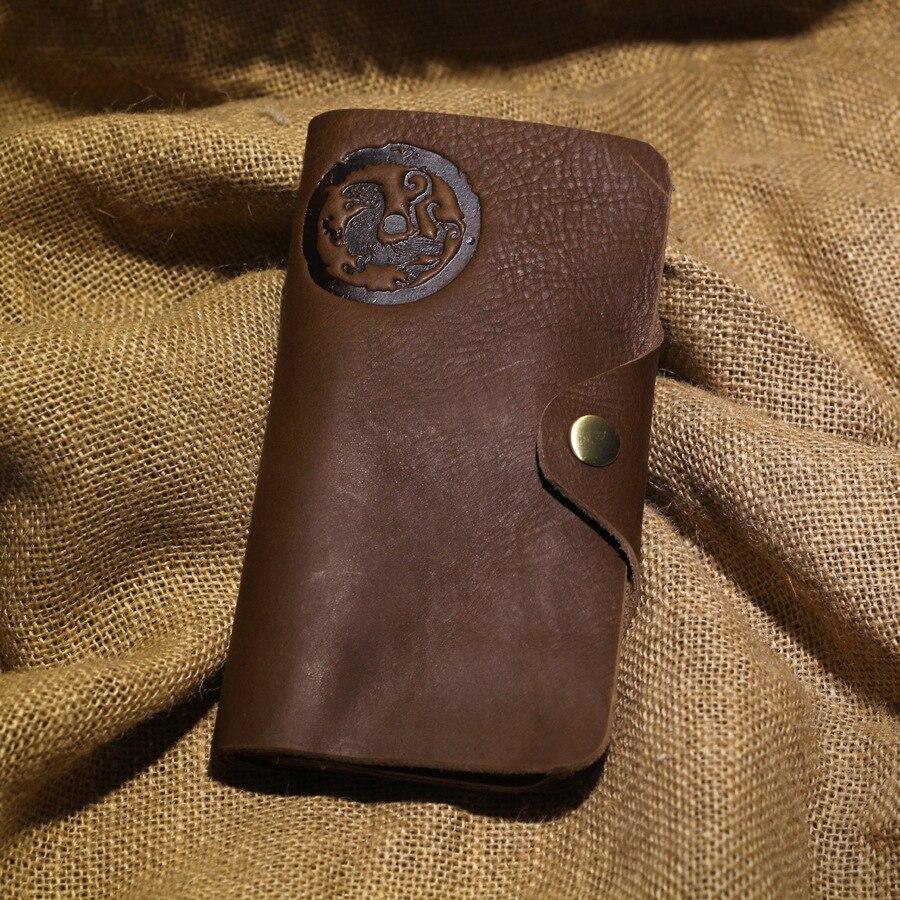 Handmade Crazy Horse Leather Men Wallets Natural Cowhide Waxed Vintage Men Purse Brown Oiled Mens Clutch Wallet Money Bag<br><br>Aliexpress