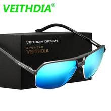 Veithdia Men Brand LOGO Designer Driving Aluminum Magnesium Polarized Sunglasses Glasses Goggles Eyeglasses Mirror Lens 6521(China)