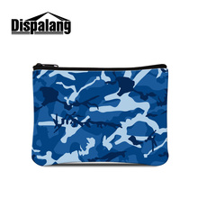 Dispalang blue camouflage printing coin purse for women ladies wallet card case portable mini coin pouch girls cash bags retail(China)
