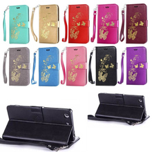 PU dust cell phone set with the For Sony Xperia X fashionable golden butterfly flowers(China)