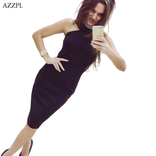 AZZPL Women Spring Slim Sexy Without Strapless Dress Bodycon Sleeveless Halter Vest Wine red  Party Dresses Vestidos