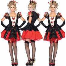 Alice In Wonderland Cosplay Costume Queen Of Hearts Costume Red Queen Costume Female Elegant Dress Cosplay