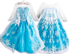 2015 elsa dress girls Cosplay Dress Costume snow queen princess anna Dress Kids party dresses fantasia infantis vestido Menina