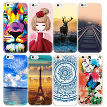 GerTong Cartoon Design Cover Phone Case for iPhone 6 6s 7 plus 6plus 5 5S SE Flowers Butterfly Patterned TPU Protective Cases