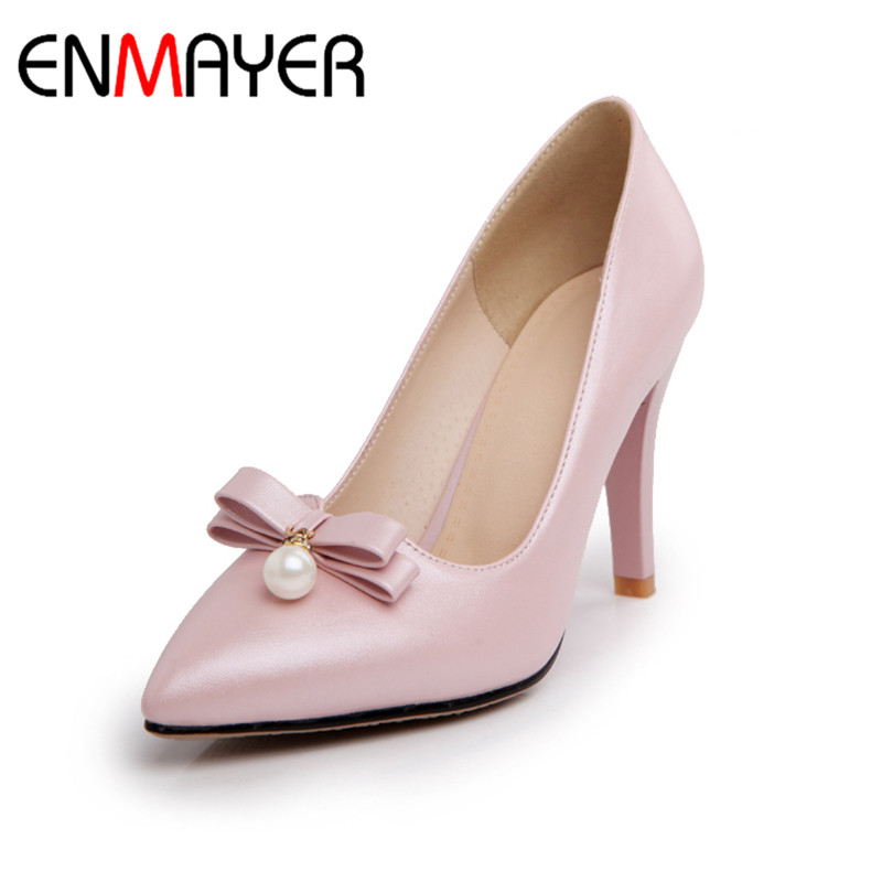 ENMAYER Woman Slip on Fashion Summer Stiletto High Heel  Pumps Pionted Toe Pumps Bowtie Pears Pink White Blue Shoes Women<br>
