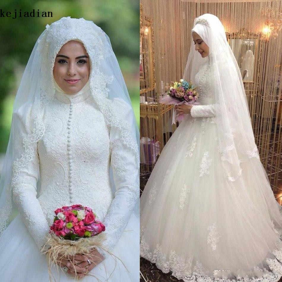 Arabic Bridal Gown Islamic Long Sleeve Muslim Wedding Dress