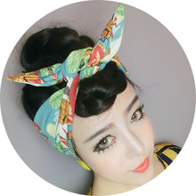 50s women vintage rockabilly pin up Easter Island pattern headband hairband hair headbands accessories bow wire rabbit ear