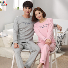 JCVANKER Couples Pajamas Set For Women Men Black Pink Grey O-neck Full Sleeve Female Male Pyjamas Suit Homewear Home Clothing