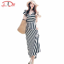 Women Going Out Cloth Short Sleeve V-Neck Striped Maxi Long Dresses Swing Floor-Length Summer Sea Holiday Vacation Vestidos 2017