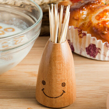 New Fashion Wooden Creative Smiley Face Home Dining Table Decor Toothpick Cotton Swab Holder Storage Box Pick Toothpick Holder