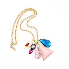 Designer Jewelry For Fashion Ladies Colorful Maxi Necklace Imitation Gemstone Pendant Necklace Boho