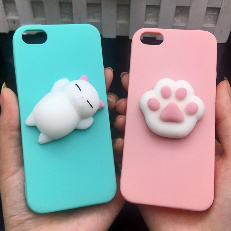 Cute 3d Squishy Cat Silicon TPU Soft Cases For iphone 5 5S SE 6 6s plus Candy Color Back Cover 5 S 7 7plus 8 8plus X phone cases (17)