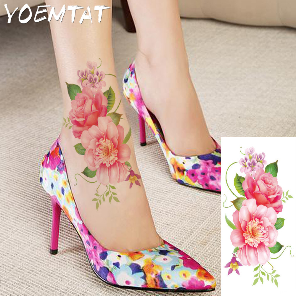 25 style flower arm shoulder tattoo stickers flash henna tattoo fake waterproof temporary tattoos sticker women 11