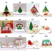 1pcs 3D Christmas Cards Greeting Handmade Paper Card Personalized Keepsakes Postcards  Wedding Birthday Decor