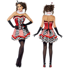 Vocole adulto mulheres sexy impertinente harlequin circus clown jester costume fancy dress halloween cosplay tubo lace top up de volta m-xl