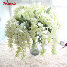 8PC plastic artificial wisteria plants hanging wisteria  Rattan Flower Vines Garlands For Wedding Party Centerpieces Decorations