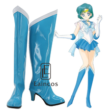 Anime Sailor Moon Sailor Mercury Cosplay Party Shoes Blue Boots Custom Made