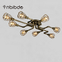 Vintage Creactive Water Pipe Ceiling Lamps Loft Black/ Rust /Bronze Iron Cage Ceiling Light E27 Edison Light bulbs(China)