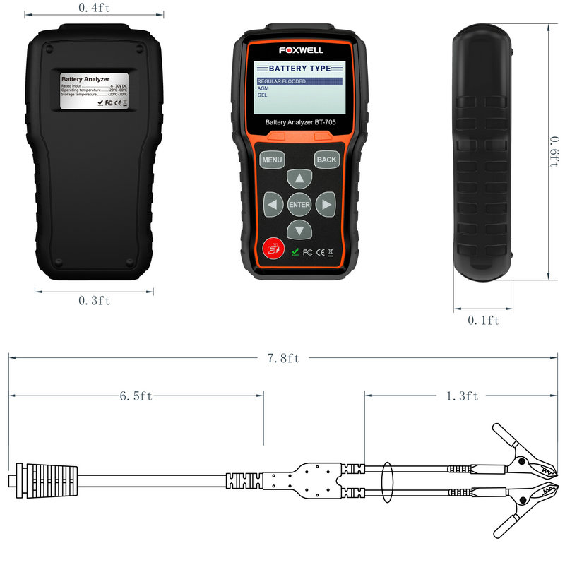 Foxwell BT705 Car Battery Analyzer 12V & 24V Truck Battery Tester Starting Charging Test with Portuguese Multi Languages 0009_