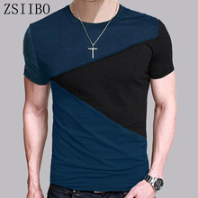 ZSIIBO Men's Tops Tees 2016 summer new o neck short sleeve t shirt men fashion trends fitness tshirt free shipping TX116-
