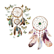 12 Pieces / lot Waterproof Temporary Tattoo Stickers Colorful Dream Catch Feather Design Body Art Makeup Tools Paper(China)