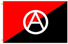 Anarchist flag with A symbol Flag A red and black used as anarchy symbol Flag Polyester grommets 3' x 5' Banner metal holes Flag