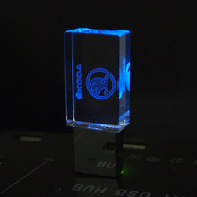 Crystal Custom logo LED Usb Flash drive skoda Car Logo 4GB 8GB 16GB 32GB USB Flash 2.0 Memory Stick Pendrive Free LOGO over 20