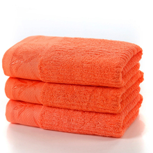 LFH Face Hands Towel 74x34cm Orange Solid Bamboo Fiber Environmental Soft Water Absorption Gift For People Quick-Dry(China)